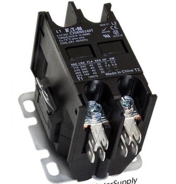Cutler Hammer/EATON C25BNB240T Compact Definite Purpose Contactor, 40A Inductive Current Rating, 24VAC Coil Voltage