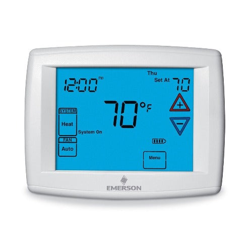 "White Rodgers 1F97-1277 - Emerson - Big Blue Universal Thermostat with Automatic Heat/Cool Changeover Option 12"" display (1F971277)"