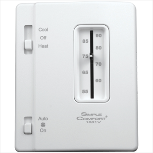 ICM Controls SC1001V - SimpleComfort non-programmable thermostat with slide switch; single-stage H/C, hardwired, vertical design