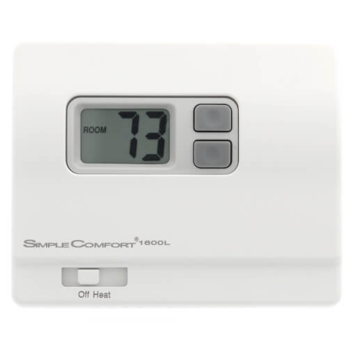 ICM Controls SC1600L - Simple Comfort Non-Programmable Heat Only Thermostat with Backlit Display, Battery Powered, No Fan Output, Multicolor
