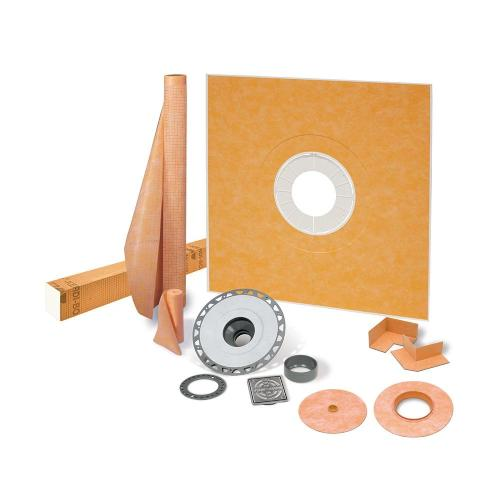 "Schluter KSK1220PVCE - KERDI-SHOWER-KIT - 48"" X 48"" Tray - Shower Kit - Center Drain - PVC Flange - Stainless Steel Grate Image"