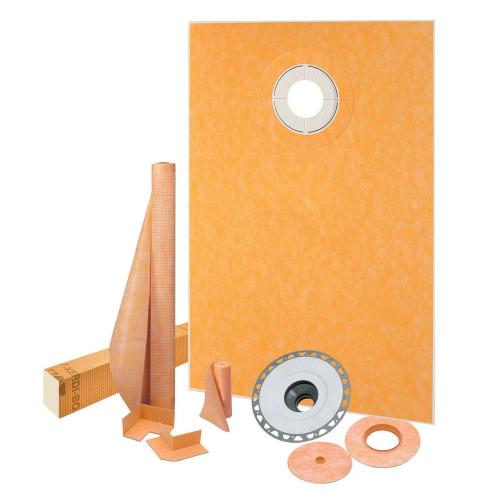 "Schluter KSK9651525SPVC - KERDI-SHOWER-KIT - 38"" X 60"" Tray - Shower Kit - Offset Drain - PVC Flange - Grate Kit Sold Separately Image"