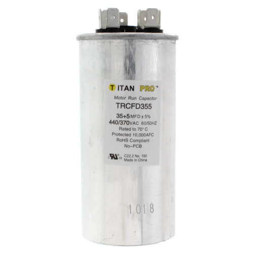 Packard TRCFD355 - Titan Pro 35/5 MFD Round Dual Motor Run Capacitor (440/370V)