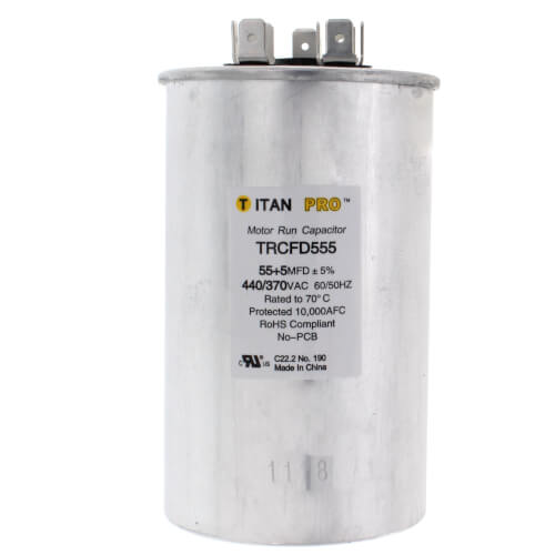 Packard TRCFD555 - Titan Pro 55/5 MFD Round Dual Motor Run Capacitor (440/370V)