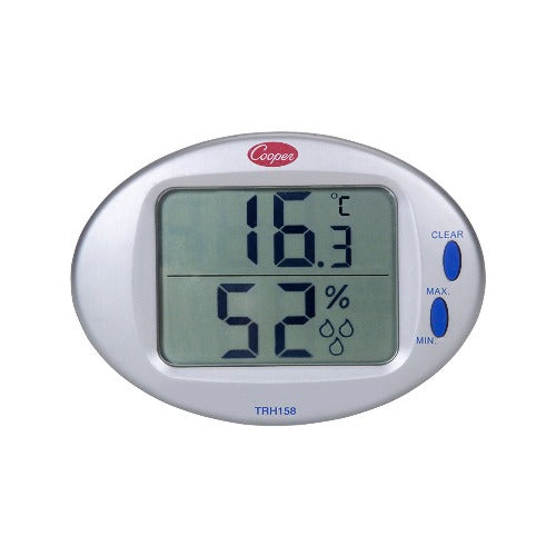 Cooper-Atkins CATRH158-0-8 - Digital Temperature/Humidity Wall Thermometer with Built-in Sensor, 32/122° F Temperature Range (TRH158-0-8)