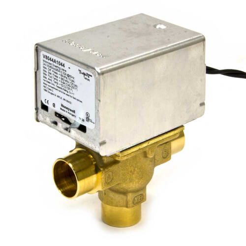 "Honeywell V8044A1044 - Home-Resideo Motorized Low Voltage Diverting Valve - 3/4"" Pipe - Sweat Connection Image"