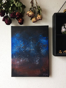 Red and blue abstract space painting