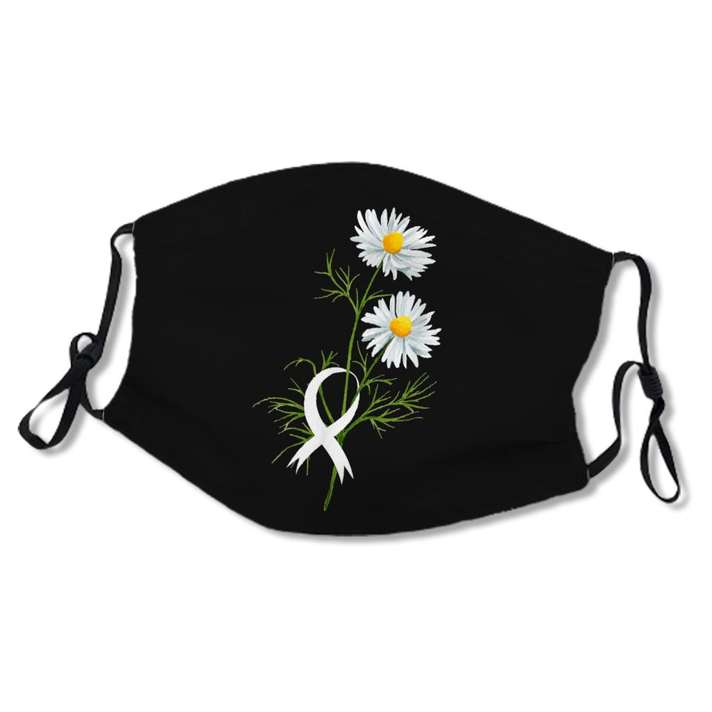 Chamomile White Ribbon Gift Lung Cancer Awareness Black Cotton NO. 2UL7ZW