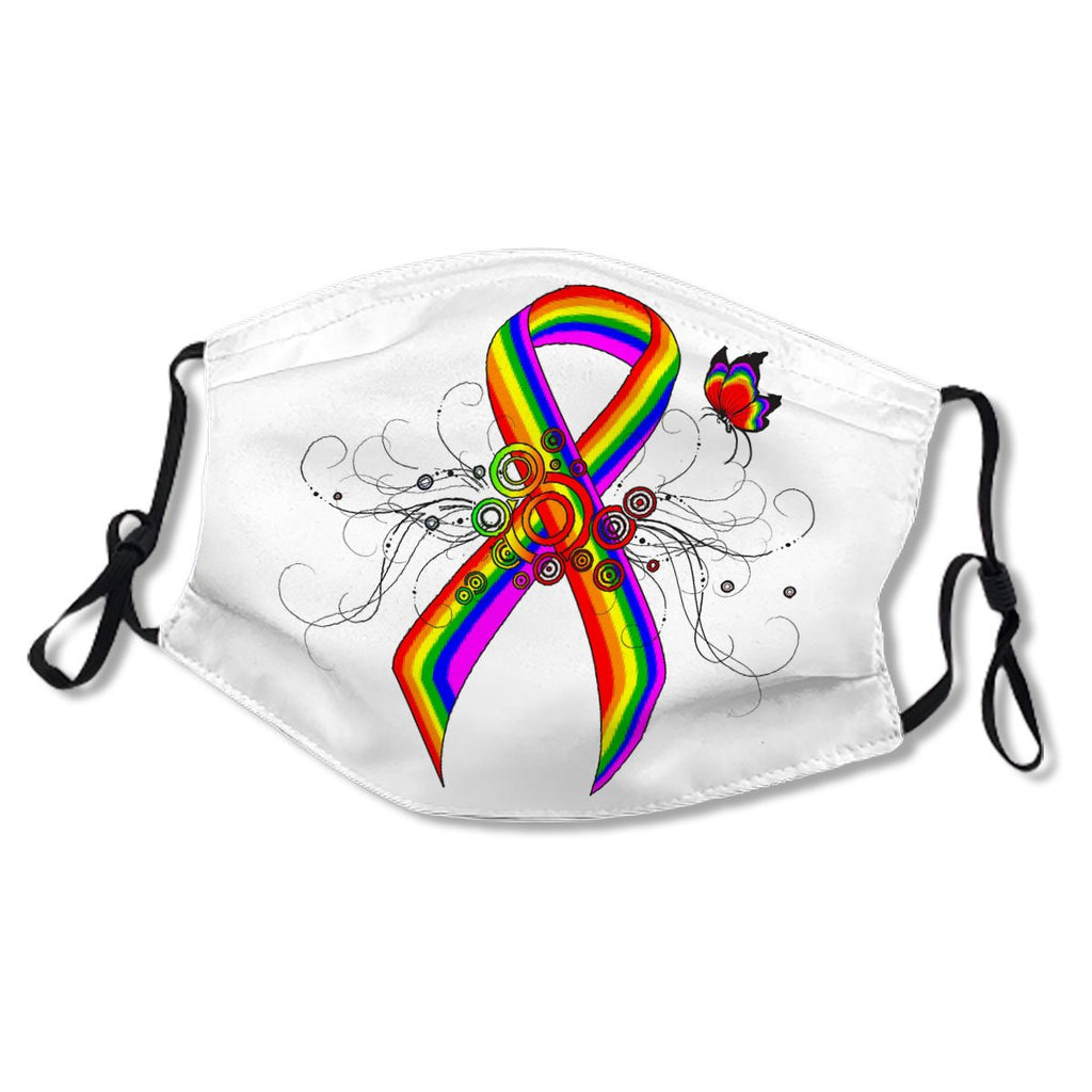 Rainbow Awareness Ribbon with Butterfly White Cotton NO. DG5DG8