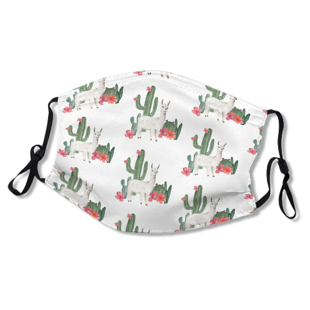 White AlpacaLlama Cactus Pink Flowers Pattern No.IC74FI