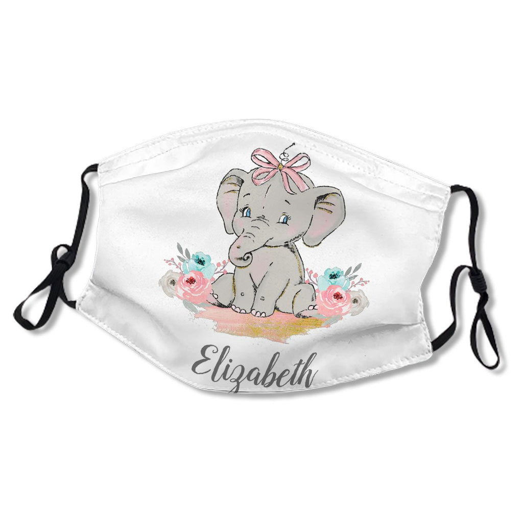 Baby Girl Elephant Watercolor Pink No.JJZQCW