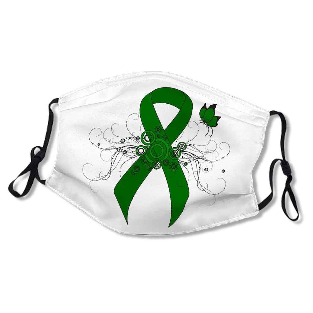 Green Awareness Ribbon with Butterfly White Cotton NO. O7BGH7