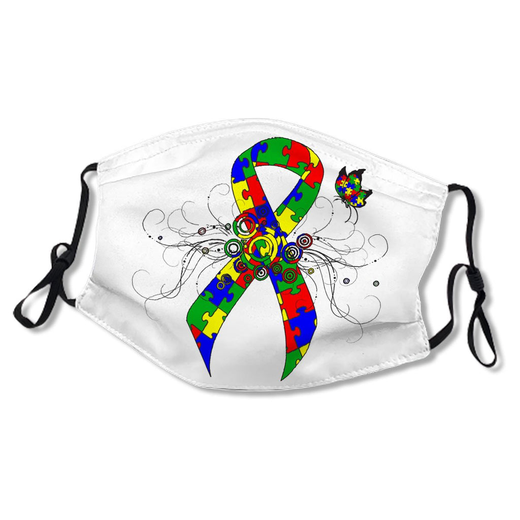 Autism Puzzle Ribbon Butterfly White Cotton NO. SQCL87