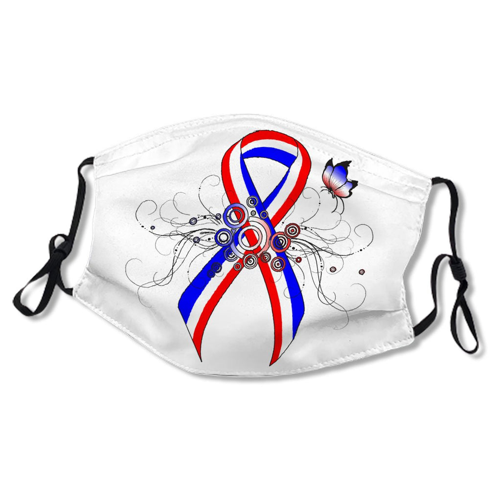 Red, White and Blue Ribbon with Butterfly White Cotton NO. USEFG4