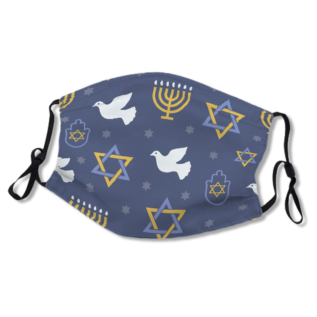 Jewish Symbols Pattern In Blue and Gold No.USLNVD