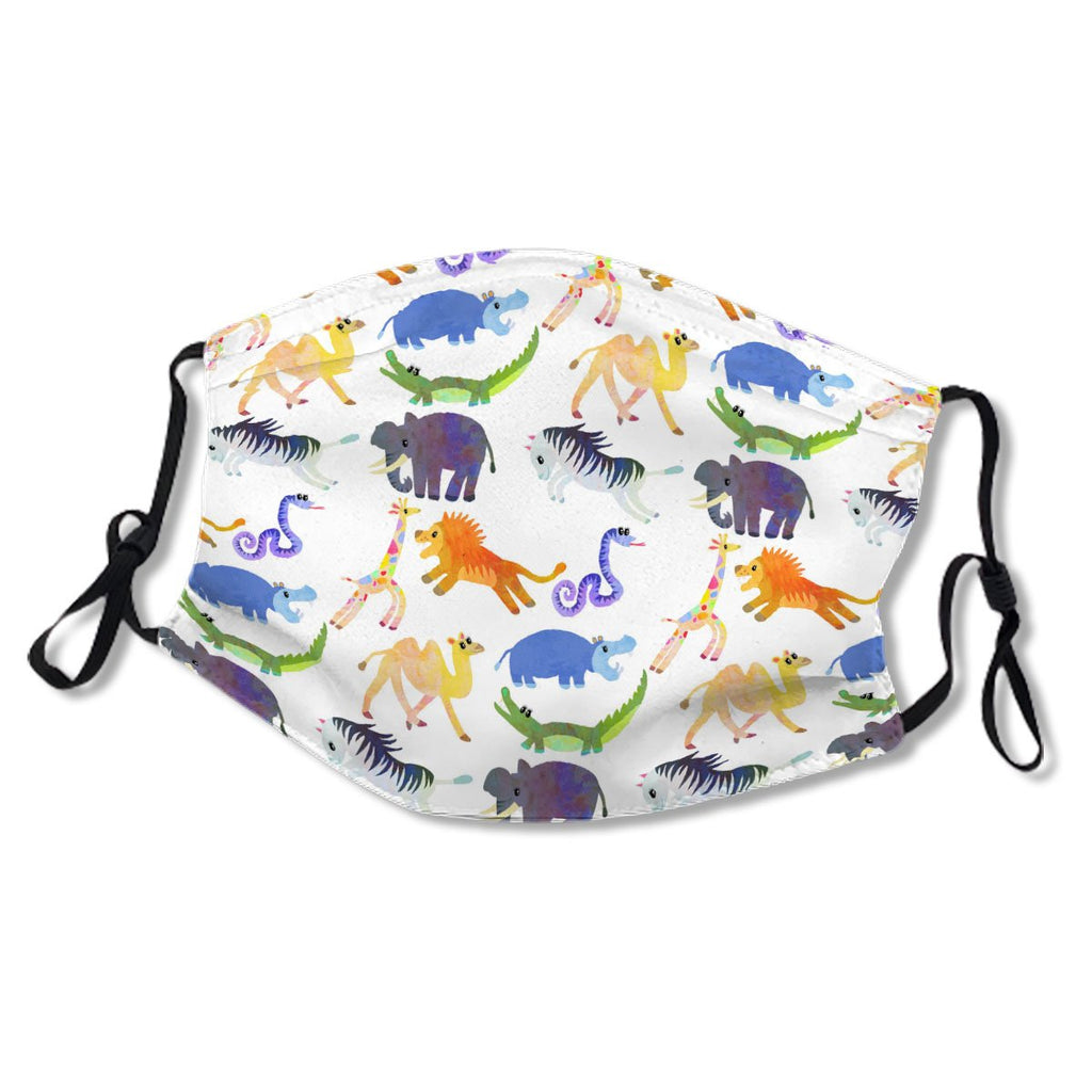 Watercolor Hippo Lion Zebra Safari Animal Cute No.XKZMIP