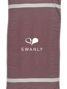 Swanly Diamond Turkish Peshtemal Towel  Burgundy
