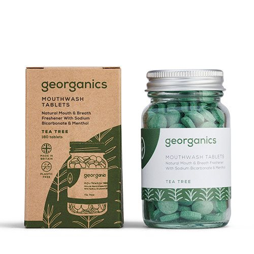 Georganics, Mundskyl tabletter med tea tree, 180 stk