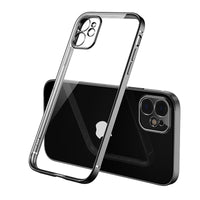 Luxury Plating Square frame Transparent Case on For iPhone xs Max Case Soft tpu Clear Cover