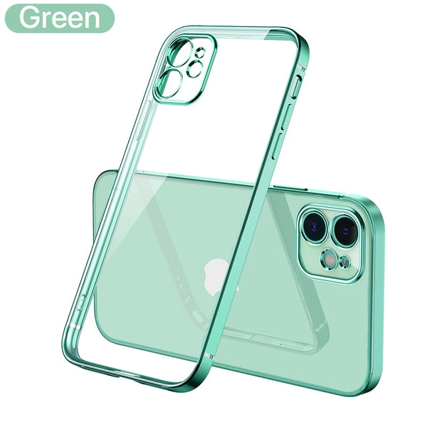 Luxury Plating Square frame Transparent Case on For iPhone 12 11 Pro Max Mini x xr xs se 2020 7 8 Plus Green Case Soft tpu Clear Cover