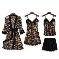 JULY'S SONG New Fashion 4 Piece Pajamas Set Leopard Print Woman Sleepwear Artificial Silk Sling Robe With Chest Pad Sleepwear
