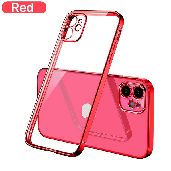 Luxury Plating Square frame Transparent Case on For iPhone 12 11 Pro Max Mini x xr xs se 2020 7 8 Plus Red Case Soft tpu Clear Cover