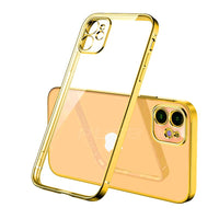Luxury Plating Square frame Transparent Case on For iPhone 12 11 Pro Max Mini x xr xs se 2020 7 8 Plus Gold Case Soft tpu Clear Cover
