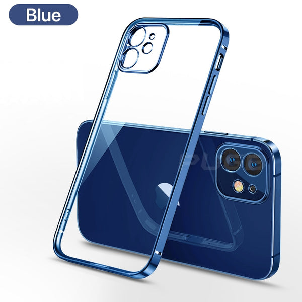 Luxury Plating Square frame Transparent Case on For iPhone 12 11 Pro Max Mini x xr xs se 2020 7 8 Plus Blue Case Soft tpu Clear Cover