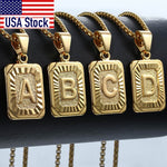 Initial Letter Pendant E Charm Yellow Gold Color Letter Necklace For Women Men Letter Name Jewelry Gift GPM05D