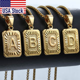Initial Letter Pendant B Charm Yellow Gold Color Letter Necklace For Women Men Letter Name Jewelry Gift GPM05D