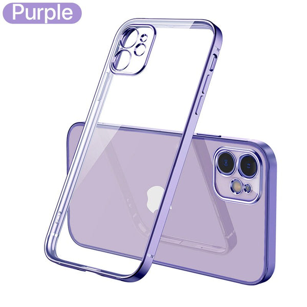 Luxury Plating Square frame Transparent Case on For iPhone 12 11 Pro Max Mini x xr xs se 2020 7 8 Plus Purple Case Soft tpu Clear Cover