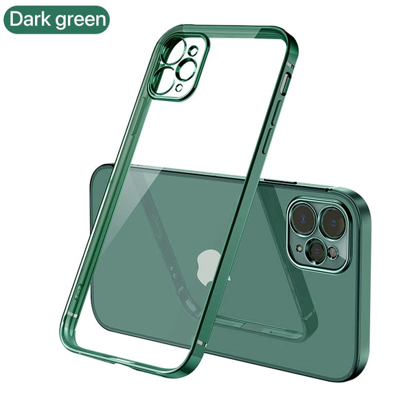 Luxury Plating Square frame Transparent Case on For iPhone 12 11 Pro Max Mini x xr xs se 2020 7 8 Plus Dark green Case Soft tpu Clear Cover