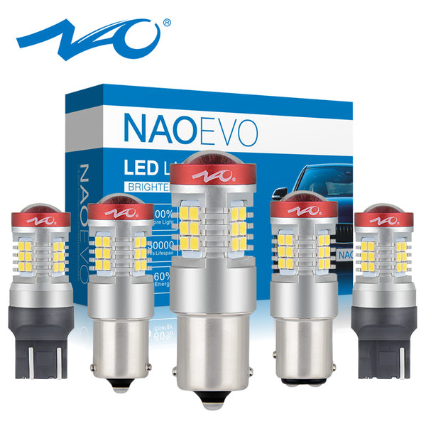 NAO P21W LED PY21W BA15S T20 W21/5W 7443 For LADA DRL P21/5W 1300LM Car LED Light Bulb 7440 BAY15D W21W 1157 Red White 12V 1156