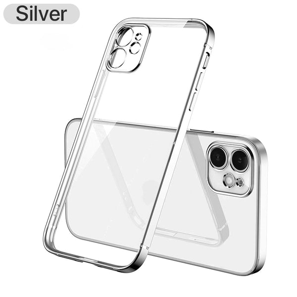 Luxury Plating Square frame Transparent Case on For iPhone 12 11 Pro Max Mini x xr xs se 2020 7 8 Plus Silver Case Soft tpu Clear Cover