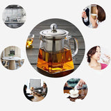 Borosilicate Glass Teapot Heat Resistant Square Glass Teapot Tea Infuser Filter Milk Oolong Flower Tea Pot