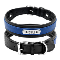 Large Dog Collar Genuine Leather Dog Collar Personalized Pet Name ID Collar Padded Customized For Medium Large Dogs
