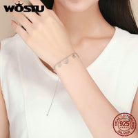 WOSTU Hot Sale Real 925 Sterling Silver Stars & Moon Chain Adjustable Bracelet For Women Girl S925 Silver Jewelry Gift CQB107