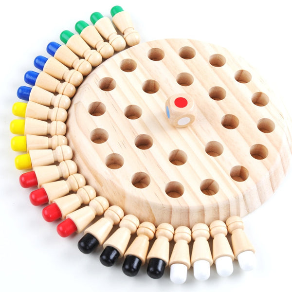 Kids Wooden Toy Puzzles Color Memory Chess Match Game Intellectual Children Party Board Games Baby Educational Learning Toys