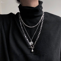 2020 New Trendy Metal Hip Hop Lock Necklaces Punk Cross Pendant Necklace Gold/Silver Color For Women Men Jewelry Gifts