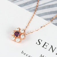 LAMOON S925 Silver Necklace For Women Little Flower Pendant Amethyst Gemstone 18k Rose Gold Plated Fine Jewelry LMNI043