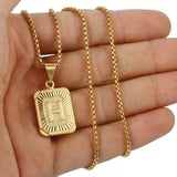 Initial Letter Pendant U Charm Yellow Gold Color Letter Necklace For Women Men Letter Name Jewelry Gift GPM05D