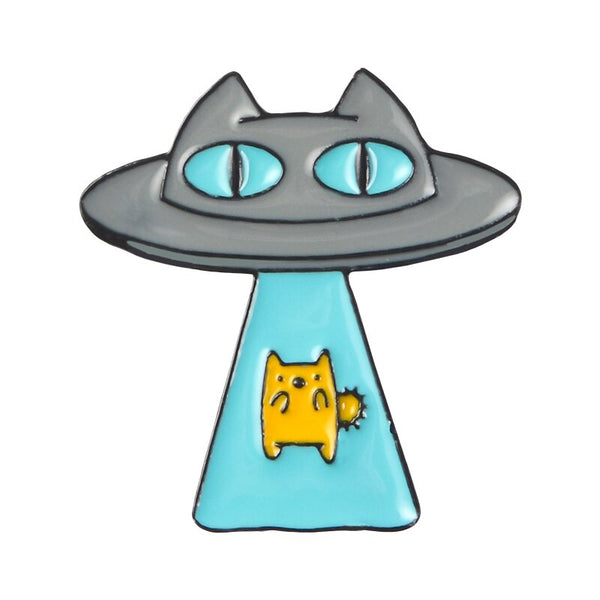 Curious Fantasy Enamel Pins Custom UFO Cat Astronaut Book Brooches Bag Clothes Lapel Pins Space Universe Badges Kid's Jewelry