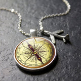 XUSHUI XJ Vintage World Map Necklace Travel Explore Discover Glass Dome Cabachon Plane Charm Pendant Necklace Men Women Gifts