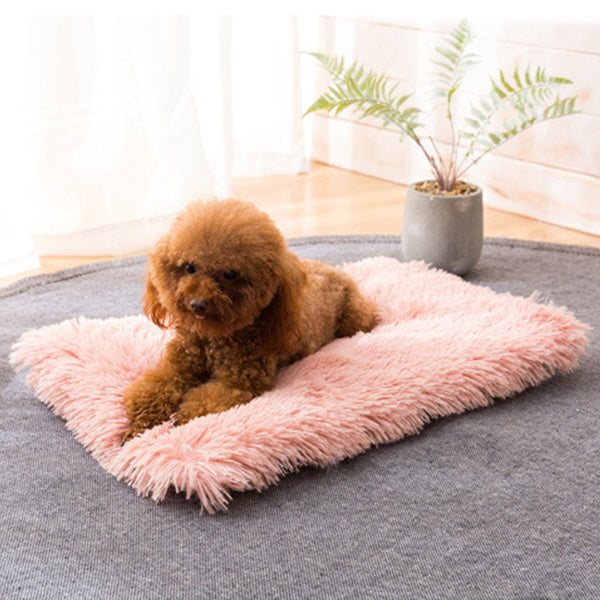 Calming Bed For Dogs Dog Long Plush Dounts Beds Dog Cat Pet Winter Warm Mats Fur Bed Pad Self Heat Rug Thermal Washable Mats
