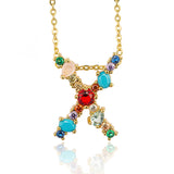 Gold Color Initial Multicolor CZ Necklace Colourful Letter Necklace Name Jewelry For Women Accessories Girlfriend Gift