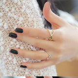Cross the three-dimensional hollow around ring Women Finger X Cross Three-dimensional Hollow Out Alloy Ring