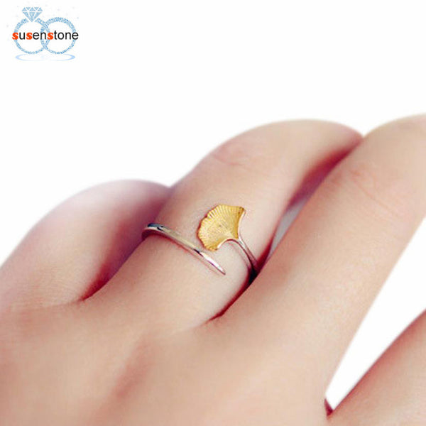 SUSENSTONE Pretty Girl Lady Ring Opening Of Ginkgo Biloba