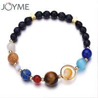 Universe Galaxy the Eight Planets Solar System Guardian Star Natural Stone Beads Bracelet Bangle for Women Men