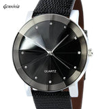 GENVIVIA Luxury Brand Quartz Sport Military Stainless Steel Dial Business Leather Band Wrist Watch Men