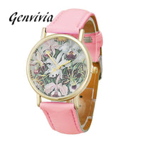 Genvivia 2017 New Arrival ladies sports watches Flowers Women Men Leather Band Analog Quartz Dial Wrist Watch